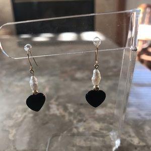 Black Onyx, Freshwater Pearl and 14k Earrings